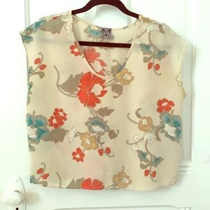 Silk top with colorful print
